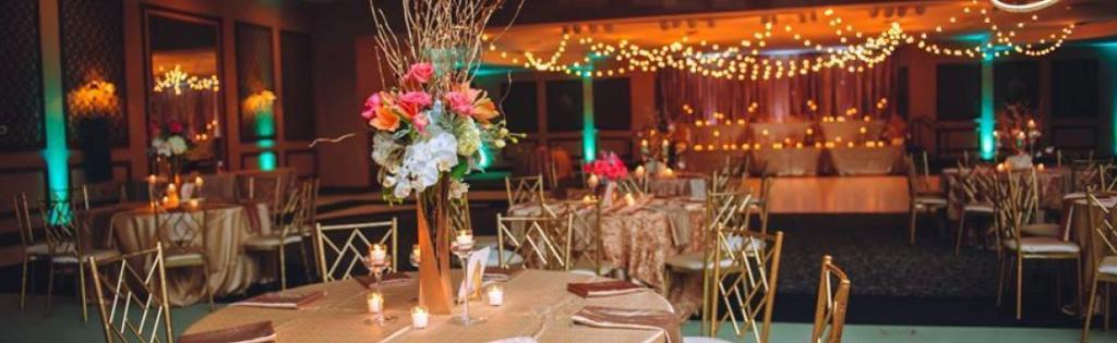 view of a wedding reception area at Swan Lake