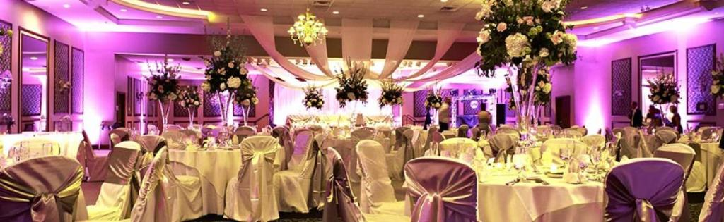 Interior view of a wedding venue at Swan Lake